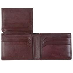 Boston Traveler Men's Topstitched Bi-fold Genuine Leather Wallet