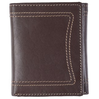 Boston Traveler Men's Topstitched Tri-fold Genuine Leather Wallet