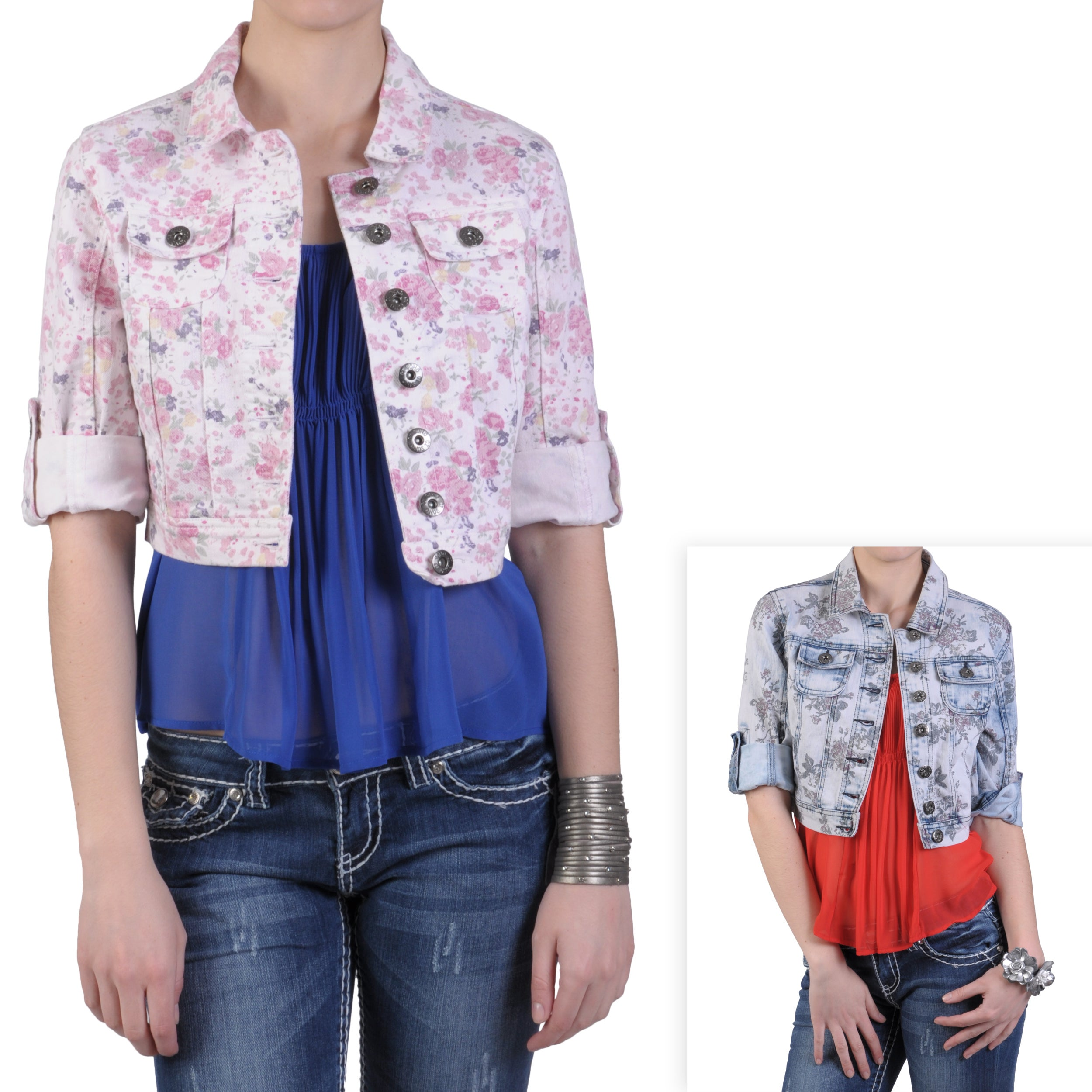 Journee Collection Juniors Floral Print Cropped Denim Jacket