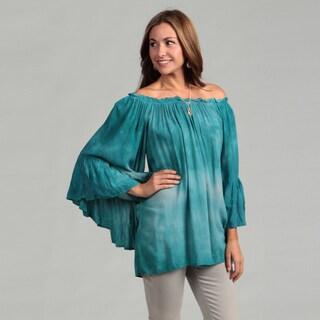 Elan Women's Aqua Tie-dye Flutter Sleeve Top