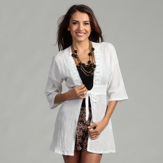 Elan Women's White Lightweight Cotton Cover Up
