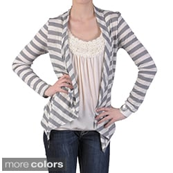 Journee Collection Women's Long-sleeve Open Front Striped Cardigan