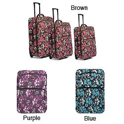 Benzi Three-piece Expandable Polyester Wheeled Trolley Luggage Set