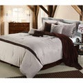 Embroidered Vines 8-Piece Brown Comforter Set