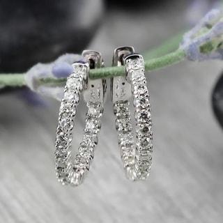Auriya 14k White or Yellow Gold 1ct TDW Diamond Hoop Earrings (J-K, I1-I2)
