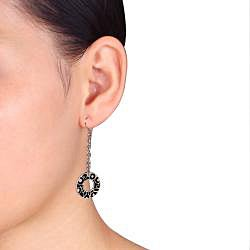 Miadora Stainless Steel with Black Epoxy Hoop Earrings
