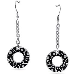 Miadora Stainless Steel with Black Epoxy Hoop Earrings