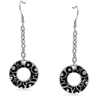 M by Miadora Stainless Steel with Black Epoxy Hoop Earrings