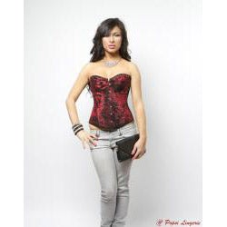 Popsi Lingerie Printed Red Hook-and-eye-closure Corset with Panty