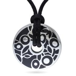 Miadora Stainless Steel Black Epoxy Fashion Pendant (20-inch)