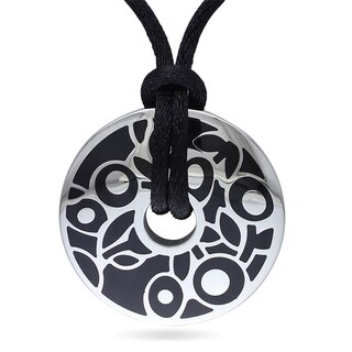 M by Miadora Stainless Steel Black Epoxy Fashion Pendant (20-inch)