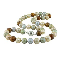 Miadora Sterling Silver Multi-colored FW Knotted Pearl Necklace (18-inch)