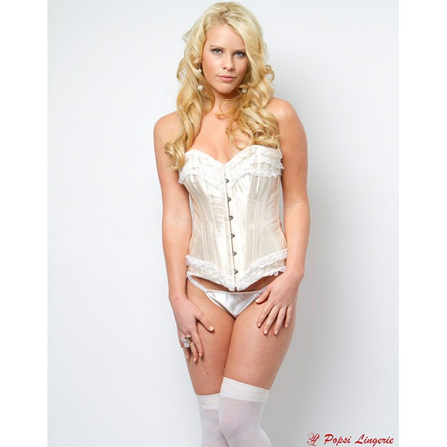 Popsi Lingerie White Ruffle Corset With Panty