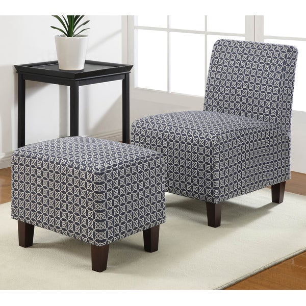 Duo Indigo Link Armless Chair and Ottoman Set