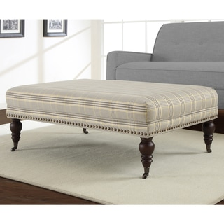 Flat Top Plaid Rectangular Ottoman