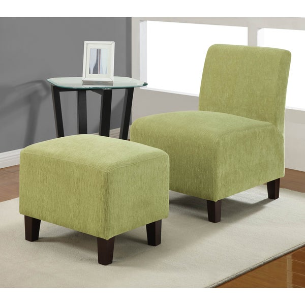 Armless Duo Split Pea Chair Ottoman Set