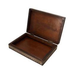 Hand-Crafted Embossed Wood Keepsake/Jewelry Box (India)