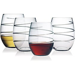 Spiral Collection Stemless Wine Glasses (Set of 4)
