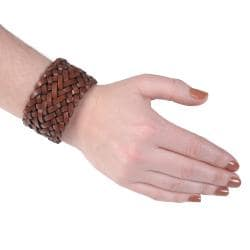 Journee Collection Women's Braided Genuine Leather Wrist Band