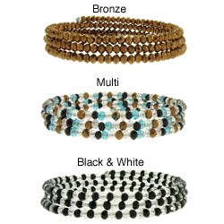 Dolce Giavonna Sterling Silver Glass Bead Wrap Bracelet