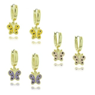 Molly and Emma 18k Gold Overlay Children's Dangling Enamel Butterfly Hoop Earrings