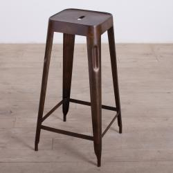 Madurai Dark Brown Steel Bar Stool (India)