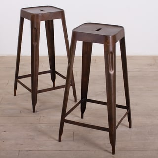 Handcrafted Madurai Brown Steel Bar Stool (Set of 2) (India)