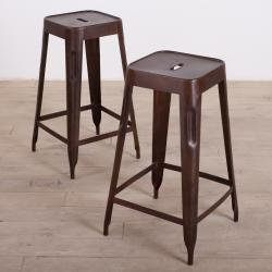 Madurai Brown Steel Bar Stool (Set of 2) (India)