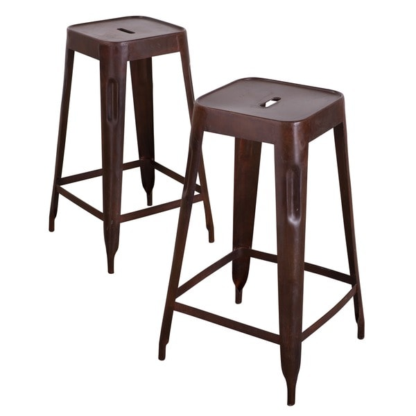 Madurai Brown Steel Bar Stool Set Of 2 India