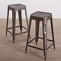 Set of 2 Natural Steel Madurai Counter Stools (India)