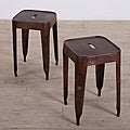 Set of 2 Dark Brown Madurai Stools (India)