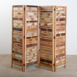 Reclaimed Wood Four-Panel Screen (India)