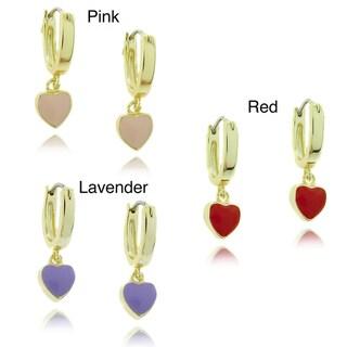 Molly and Emma 18k Gold Overlay Children's Dangling Enamel Heart Hoop Earrings