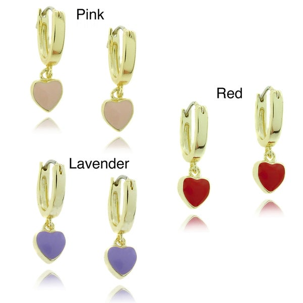 Molly and Emma 18k Gold Overlay Children's Dangling Enamel Heart Hoop Earrings