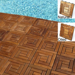 Le Click Style Spiral Teak Interlocking Deck Tiles (Set of 10)
