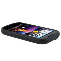 INSTEN Black Soft Silicone Skin Phone Case Cover for HTC Amaze 4G