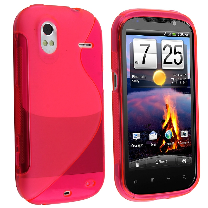 INSTEN Frost Hot Pink S Shape TPU Rubber Skin Phone Case Cover for HTC Amaze 4G