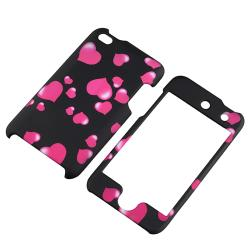 Black/ Pink Heart Rubber Coated Case for Apple iPod Touch Generation 4
