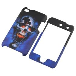 Blue Skull Rubber Coated Case for Apple iPod Touch Generation 4