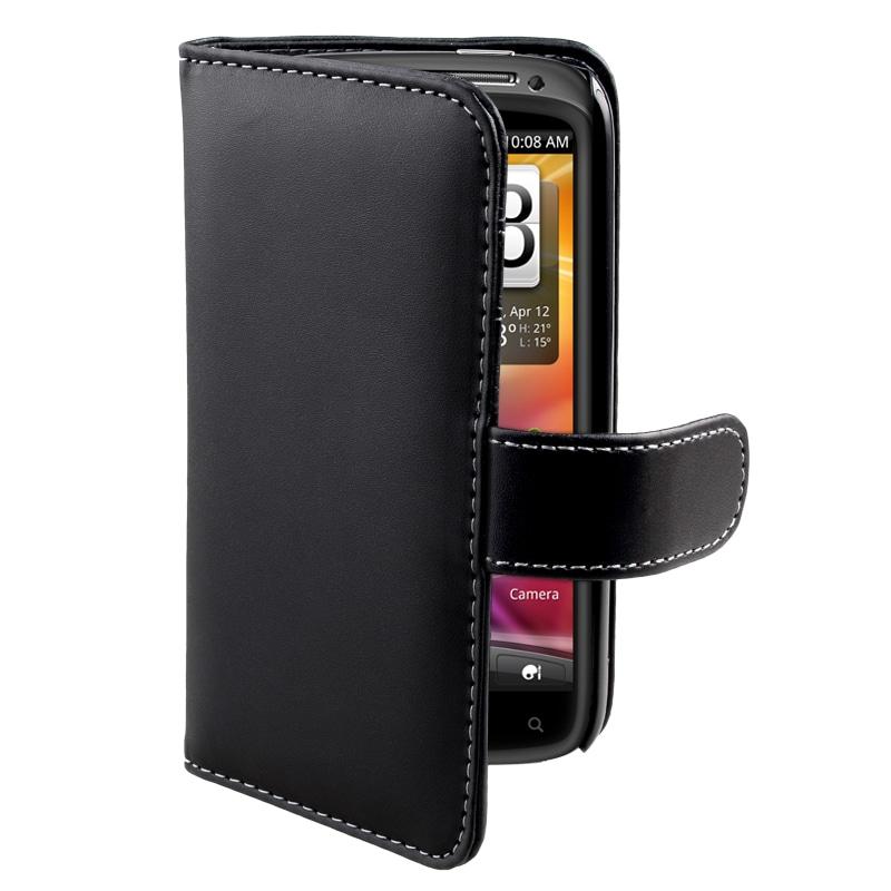 INSTEN Black Leather Card Wallet Phone Case Cover for HTC Sensation 4G