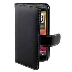 Black Leather Card Wallet Case for HTC Sensation 4G