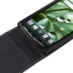 Black Leather Case for Sony Ericsson Xperia X12