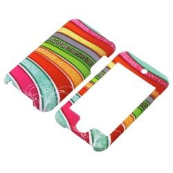 INSTEN Colorful Stripes Snap-On Rubber-Coated iPod Case Cover for Apple iPod Touch Generation 2/ 3