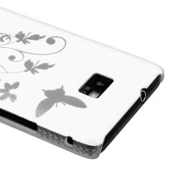 White Flower with Butterfly Snap-on Case for Samsung Galaxy S II i9100
