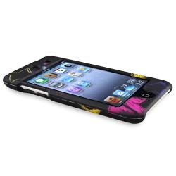 Black/ Star Rubber Coated Case for Apple iPod Touch Generation 4