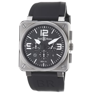 Bell & Ross Men's 'Avation' Black Dial Titanium Black Strap Watch