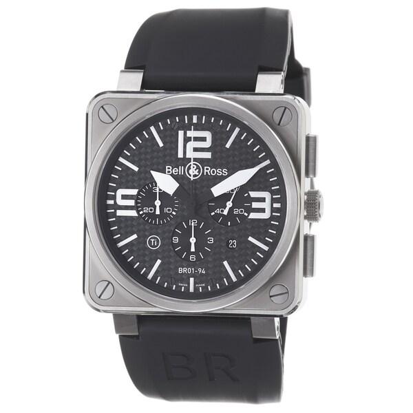 Bell & Ross Men's 'Avation' Black Dial Titanium Black Strap Watch