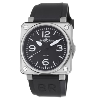 Bell & Ross Men's BR01-92STEEL 'Avation' Black Dial Black Strap Automatic Watch