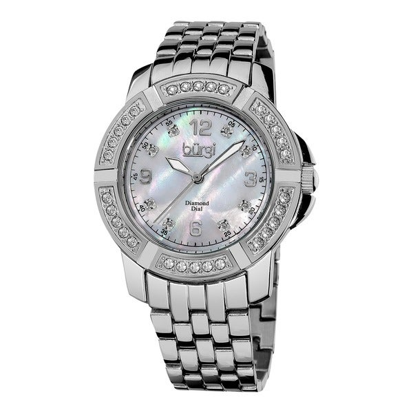 Burgi Women's Diamond Swiss Quartz Stainless Steel Silver-Tone Bracelet Watch