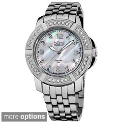 Burgi Women's Stainless Steel Diamond Bracelet Swiss Quartz Watch